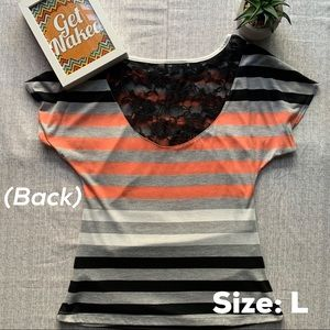 by & by Tops - Striped short sleeve top w/ruched sides & lace